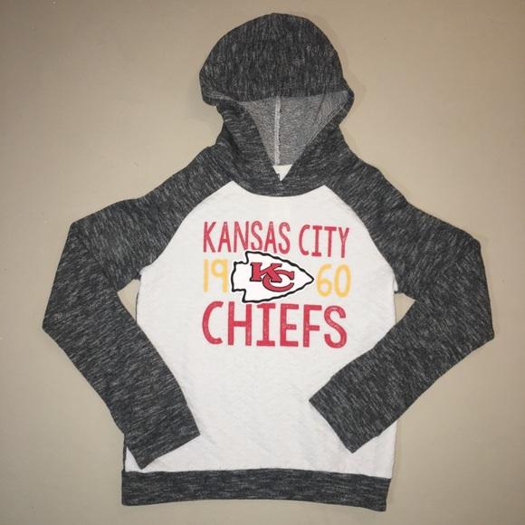 White Reebok Kansas City Chiefs NFL Youth Hoodie Hooded Sweatshirt